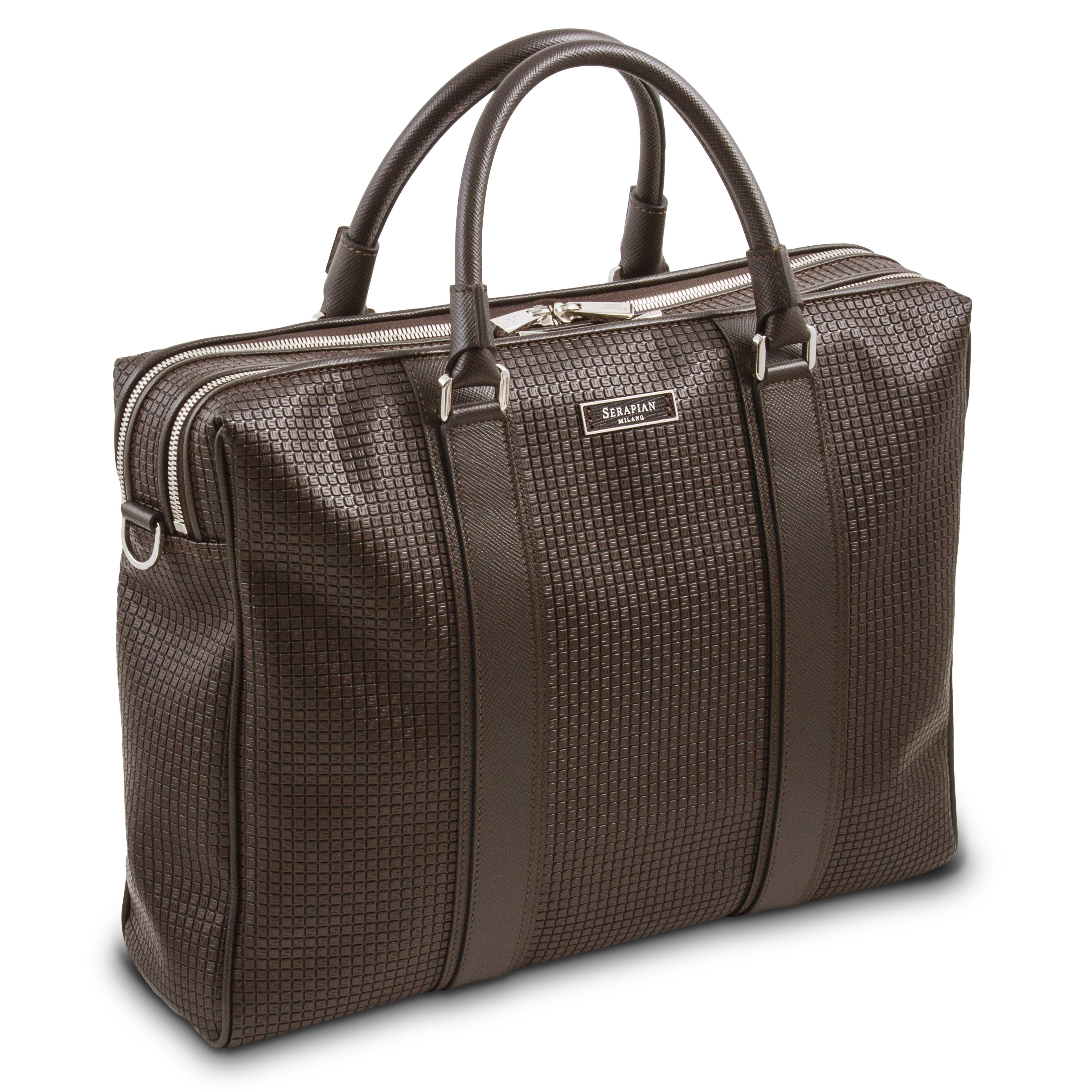 Double Briefcase with zip Stepan Chocolate Brown:Black.jpg