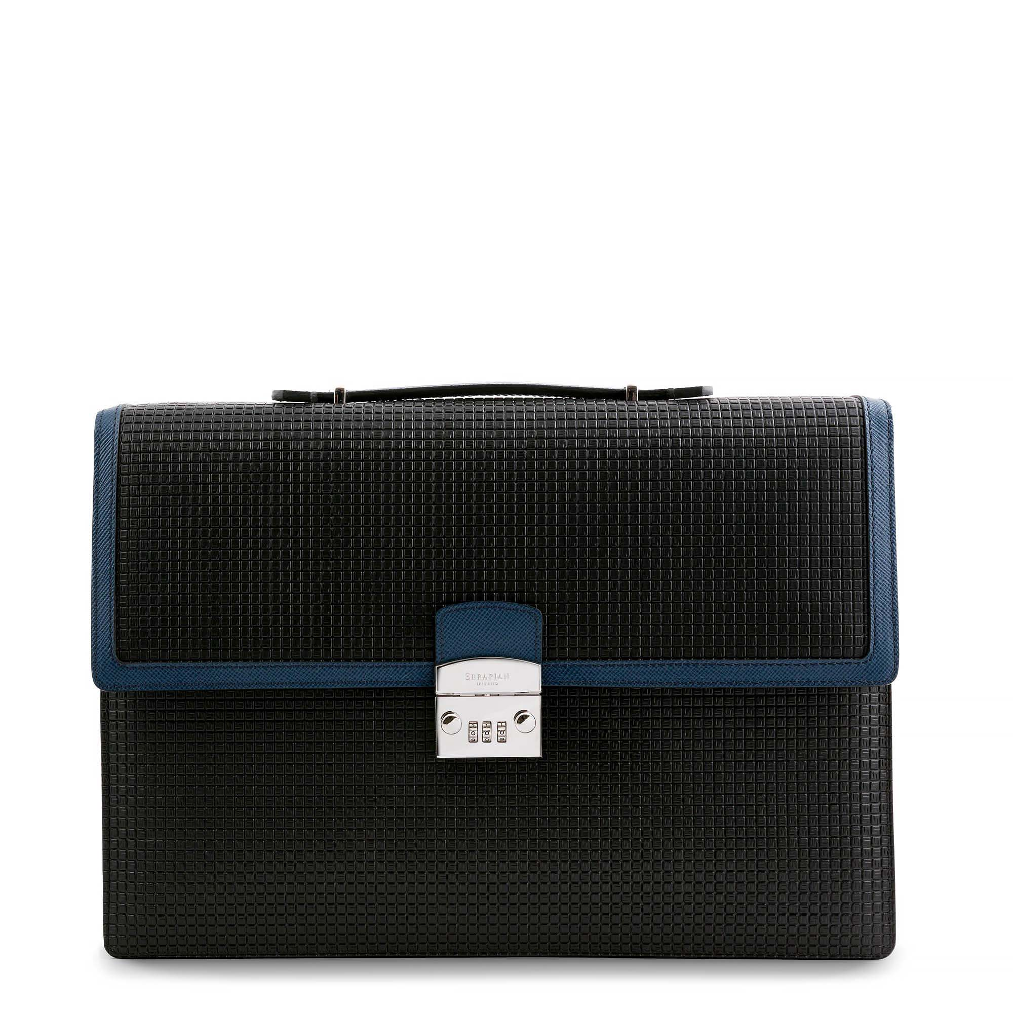 Single Briefcase with Lock Stepan Black:Lapiz Lazuli.jpg
