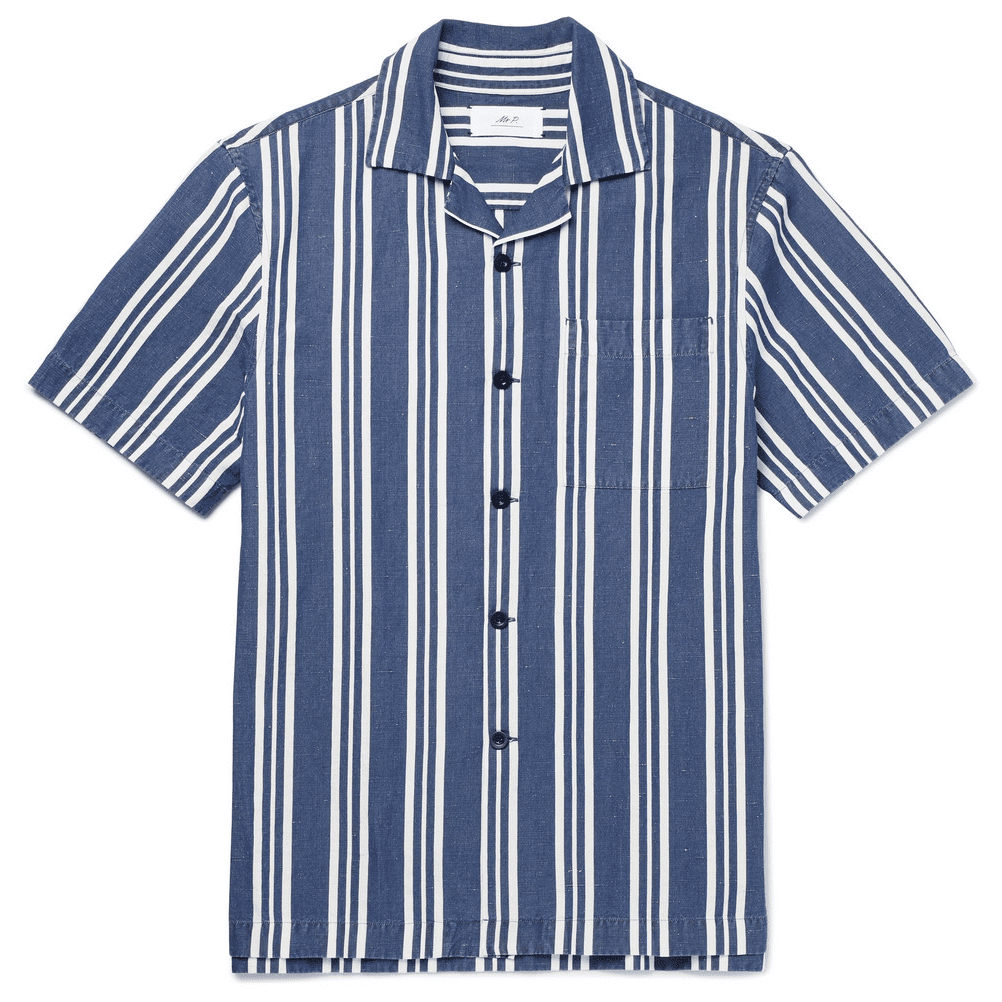 6cf2a84a Sunspel Cotton Camp Collar Short Sleeve Shirt in Navy, £115 at END CLOTHING  > Mr P. Striped Cotton, Linen And Silk-Blend Shirt in Navy, £135 at MR  PORTER >