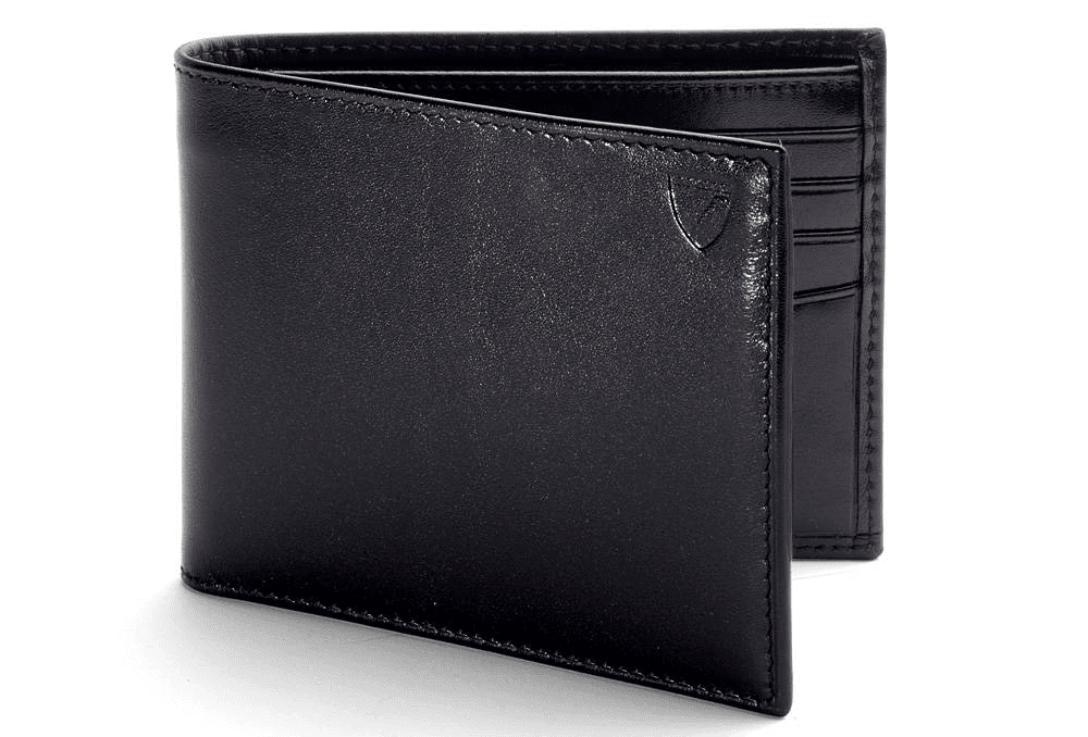 Aspinal of London Leather Billfold Wallet in Smooth Black and Black Suede