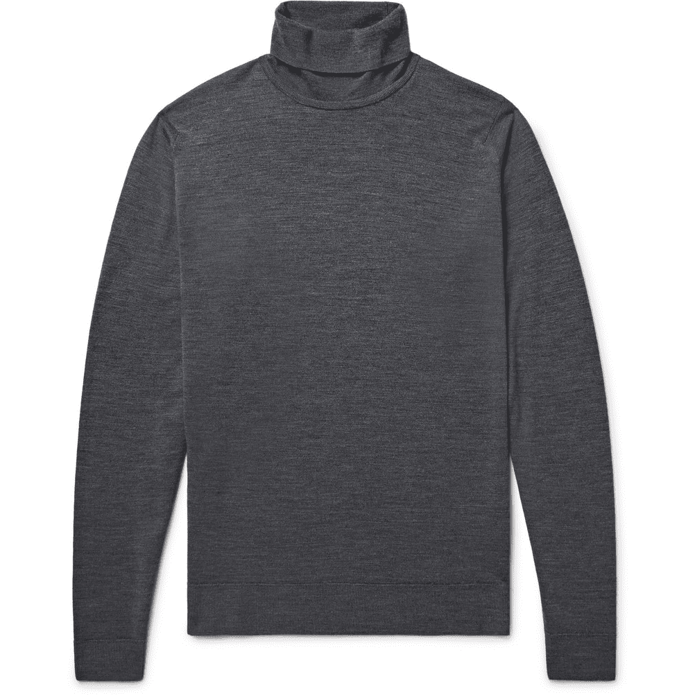 John Smedley Cherwell Merino Wool Rollneck Sweater in Charcoal