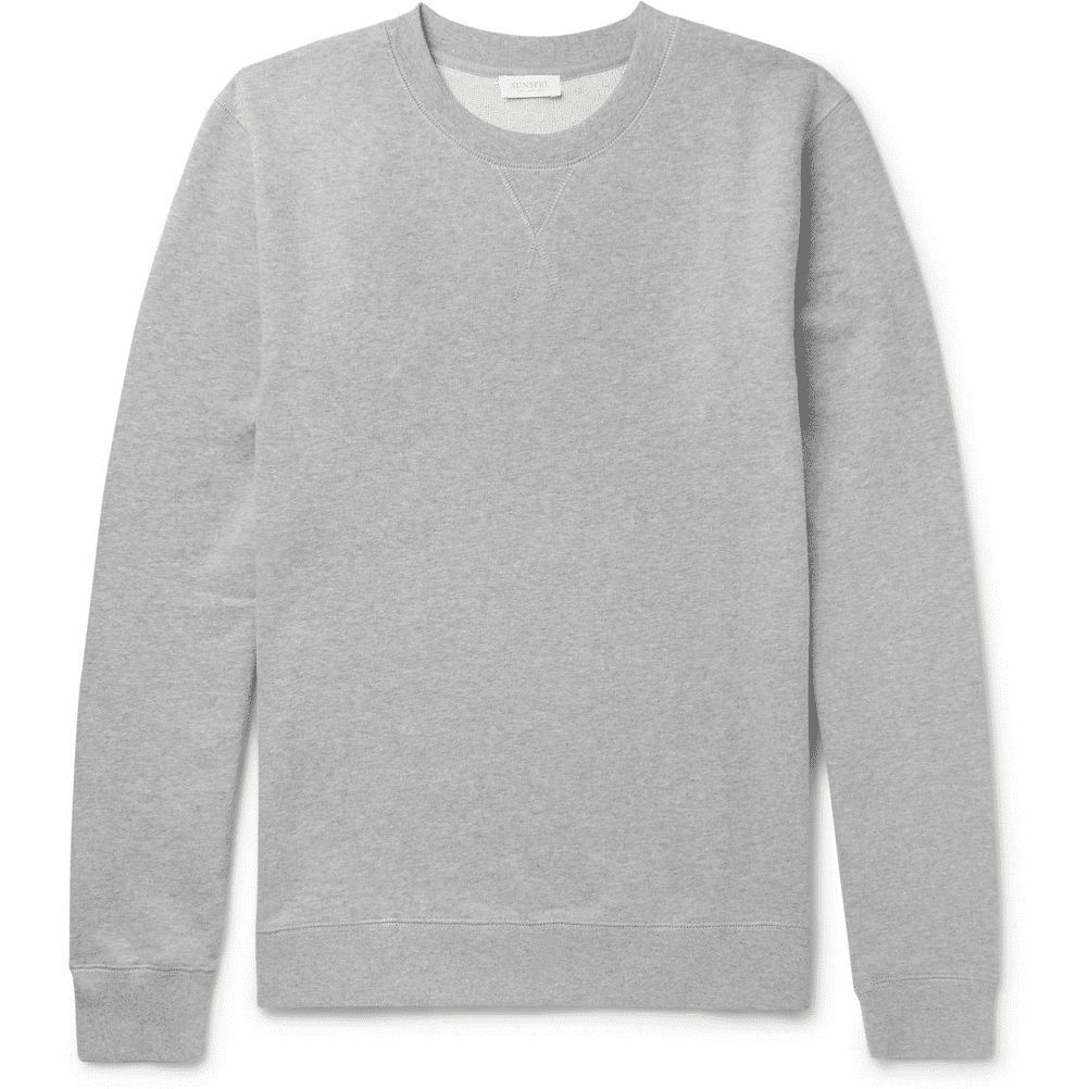 Sunspel Brushed Loopback Cotton-Jersey Sweatshirt in Grey
