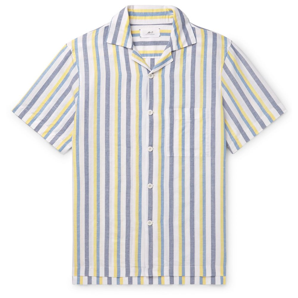 cbccaed5 MR P. Camp-Collar Striped Linen And Cotton-Blend Shirt, £135 >