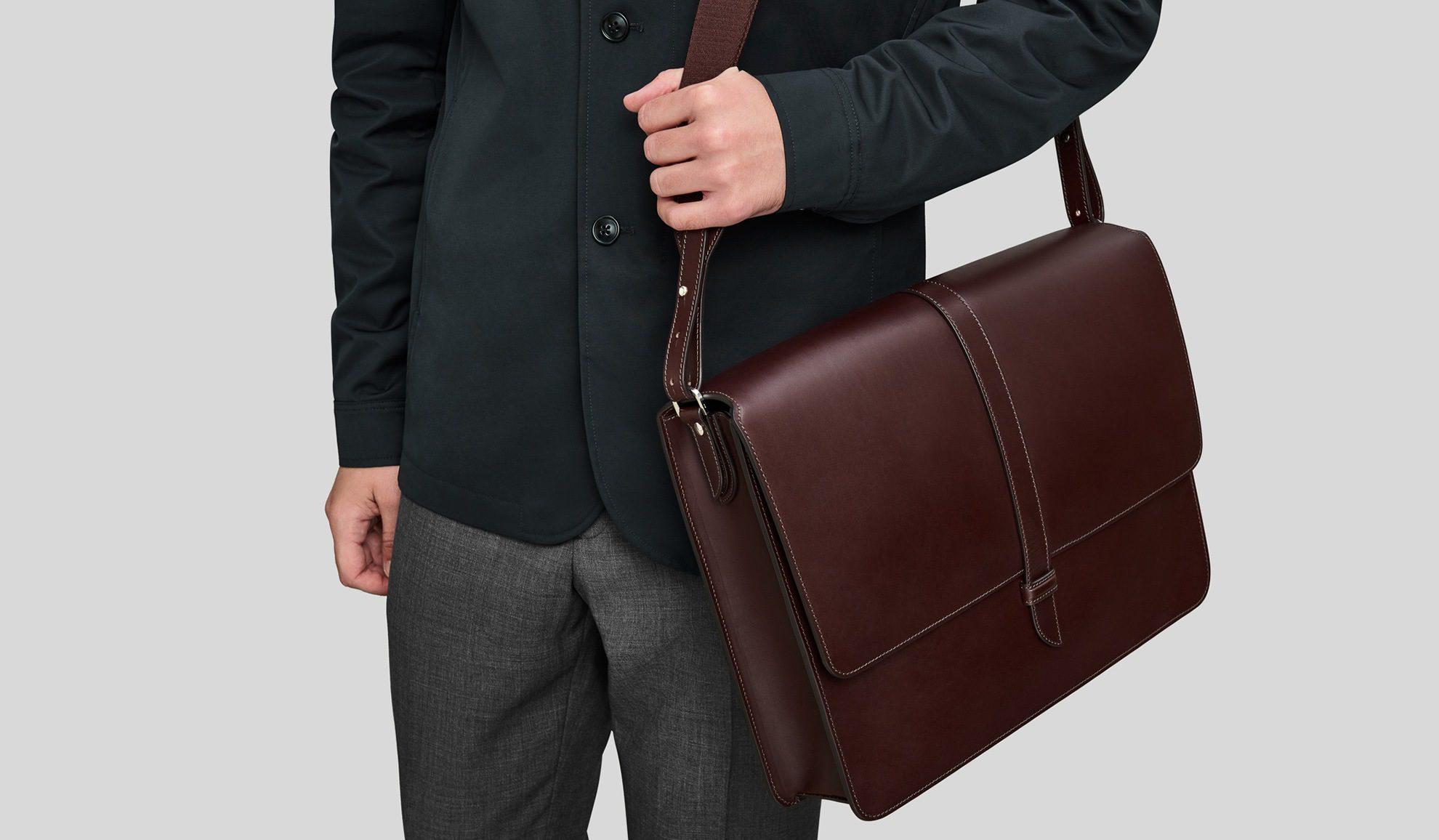 World of Leather Mens Briefcase Messenger Bag Italian Leather Designer Cognac