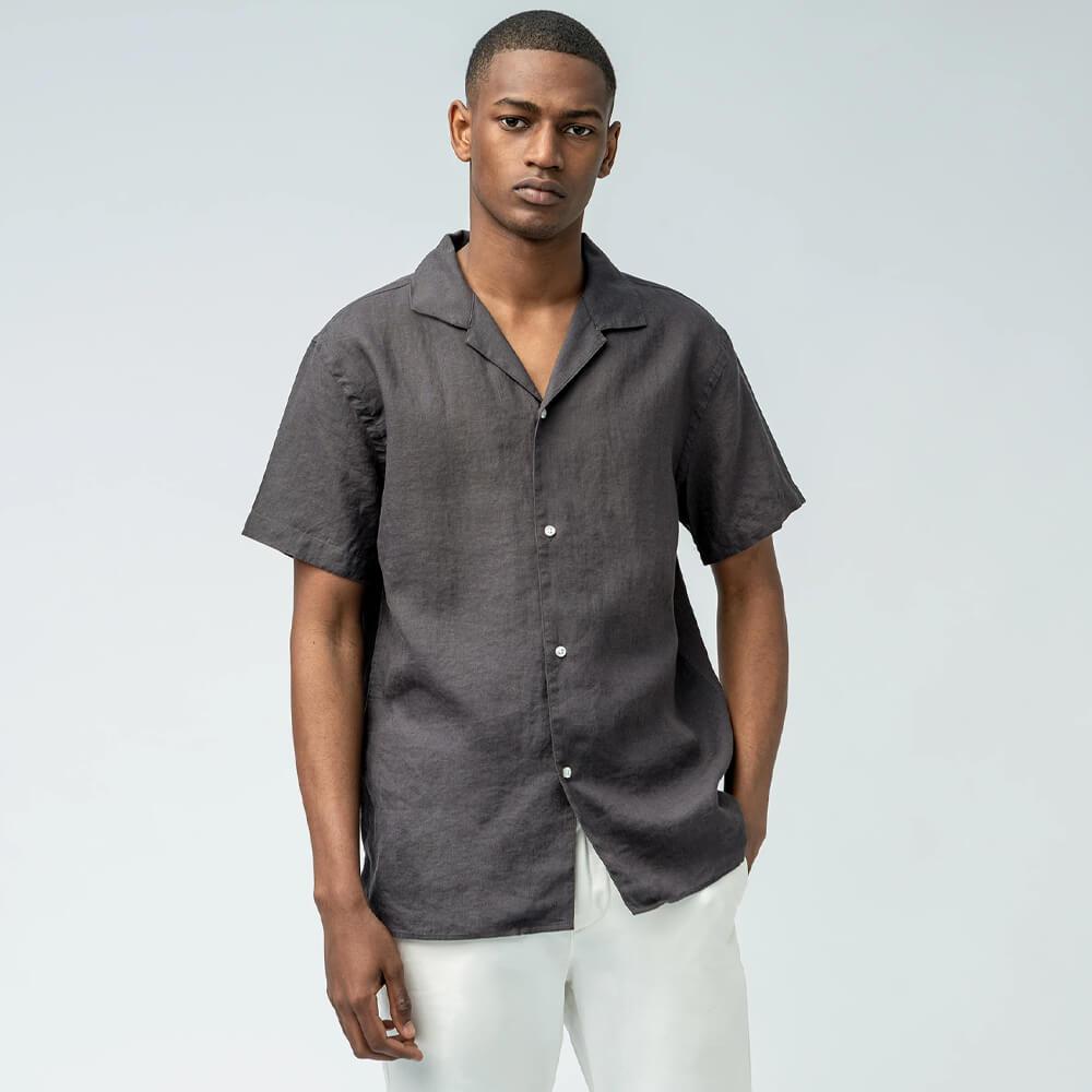 ISTO Camp-Collar Linen Shirt